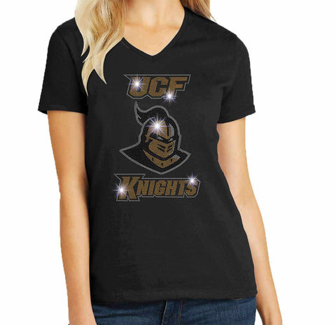 UCF University of Central Florida Knightro Spangle Rhinestone Bling shirt - available in adult, youth, short, long sleeve, tank or hoodie sweatshirt Colleges Becky's Boutique Womens Extra-small Womens short sleeve V-neck