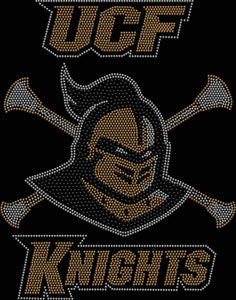 UCF University of Central Florida Knightro Majorettes/Baton Spangle Rhinestone Bling shirt - available in adult, youth, short, long sleeve, tank or hoodie sweatshirt Colleges Becky's Boutique Womens Extra-small Womens short sleeve V-neck