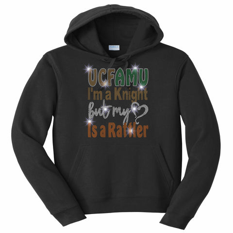 UCFAMU I'm a UCF Knight but my Heart is a FAMU Rattler - Hoodie Sweatshirt Hoodie Sweatshirt Becky`s Boutique Extra Small