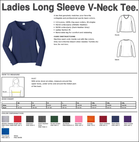 UHS Univeristy Long SleeveMajorette Shirt Ladies Long Sleeve V-neck Beckys-Boutique.com