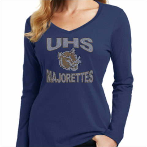 UHS Univeristy Long SleeveMajorette Shirt Ladies Long Sleeve V-neck Beckys-Boutique.com Extra-Small