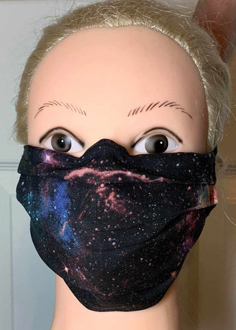 Image of Universe Face Mask, Adult and Child Sizes, For dust, travel, pet grooming and gardening. Washable, Reusable with adjustable nose Face Mask Becky's Boutique