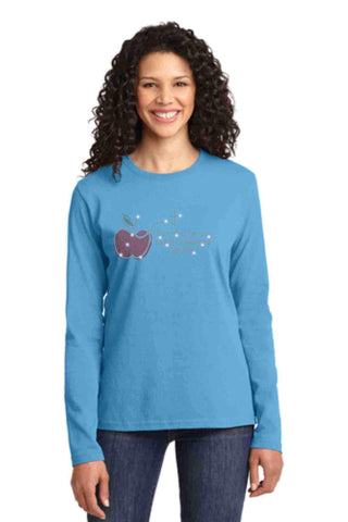 University Carillon Spangle Bling shirt -long sleeve crew neck Schools Becky's Boutique XS Aqua