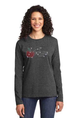 University Carillon Spangle Bling shirt -long sleeve crew neck Schools Becky's Boutique XS Dark Heather Gray