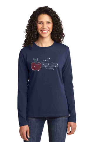University Carillon Spangle Bling shirt -long sleeve crew neck Schools Becky's Boutique XS Navy Blue