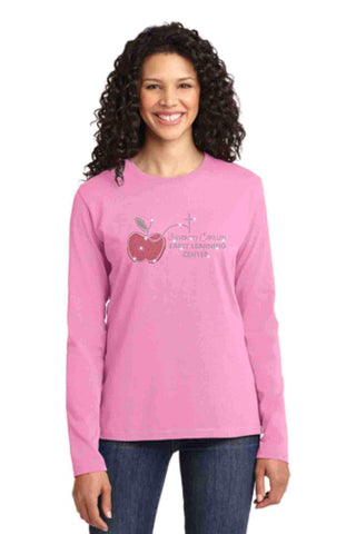 University Carillon Spangle Bling shirt -long sleeve crew neck Schools Becky's Boutique XS Pink