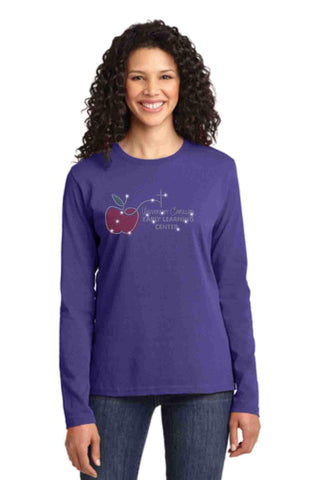 University Carillon Spangle Bling shirt -long sleeve crew neck Schools Becky's Boutique XS Purple