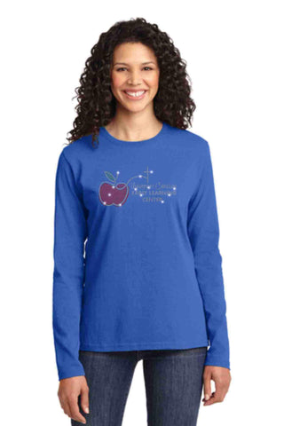 University Carillon Spangle Bling shirt -long sleeve crew neck Schools Becky's Boutique XS Royal Blue