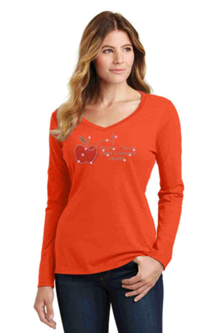 University Carillon Spangle Bling shirt - long sleeve v-neck Long Sleeve V-Neck Becky's Boutique XS Orange