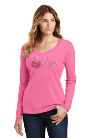 University Carillon Spangle Bling shirt - long sleeve v-neck Long Sleeve V-Neck Becky's Boutique XS Pink