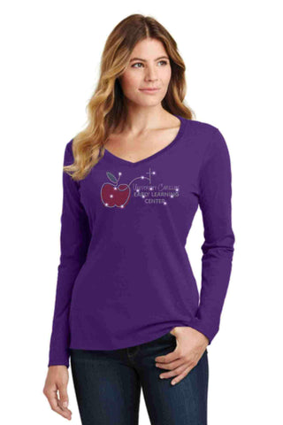 University Carillon Spangle Bling shirt - long sleeve v-neck Long Sleeve V-Neck Becky's Boutique XS Purple