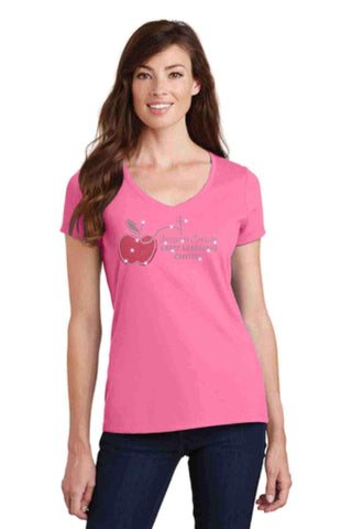 University Carillon Spangle Rhinestone Bling shirt - v-neck Schools Becky's Boutique XS Pink