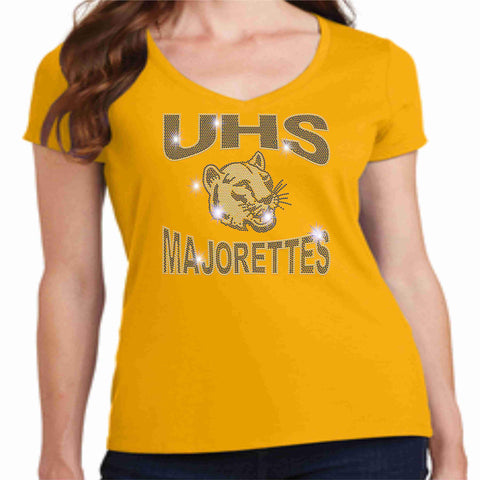 University High School UHS Ladies Short Sleeve Majorettes Shirt - Available in Navy, Gold and Gray Ladies Short Sleeve V-neck Beckys-Boutique.com Extra-Small Gold