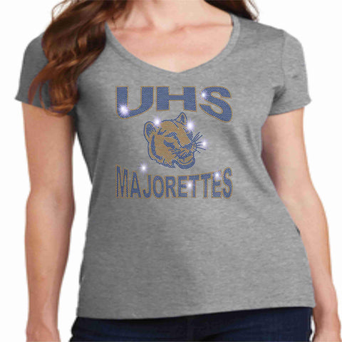 University High School UHS Ladies Short Sleeve Majorettes Shirt - Available in Navy, Gold and Gray Ladies Short Sleeve V-neck Beckys-Boutique.com Extra-Small Gray
