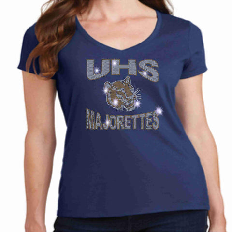 University High School UHS Ladies Short Sleeve Majorettes Shirt - Available in Navy, Gold and Gray Ladies Short Sleeve V-neck Beckys-Boutique.com Extra-Small Navy
