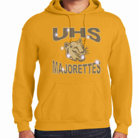 University High School-UHS Majorette Hoodie - Available in Navy, Gold and Gray-Hoodie Sweatshirt-Becky's Boutique-Small-Gold-Beckys-Boutique.com