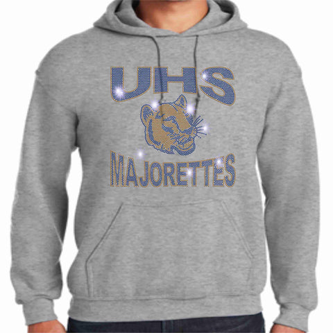 University High School-UHS Majorette Hoodie - Available in Navy, Gold and Gray-Hoodie Sweatshirt-Becky's Boutique-Small-Gray-Beckys-Boutique.com