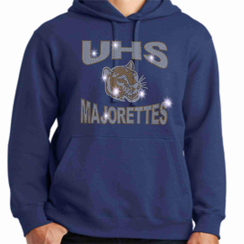University High School-UHS Majorette Hoodie - Available in Navy, Gold and Gray-Hoodie Sweatshirt-Becky's Boutique-Small-Navy-Beckys-Boutique.com