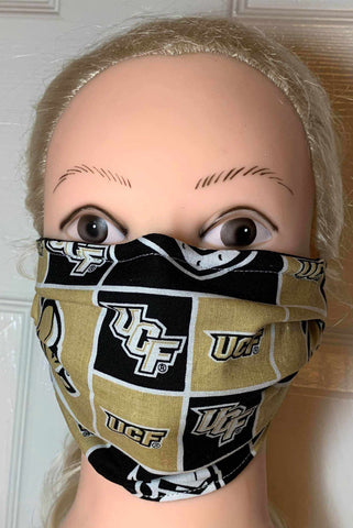 University of Central Florida UCF Knightro Face Mask , Adult and Child Sizes, For dust, travel, pet grooming and gardening. Washable, Reusable with adjustable nose Face Mask Becky's Boutique Adult