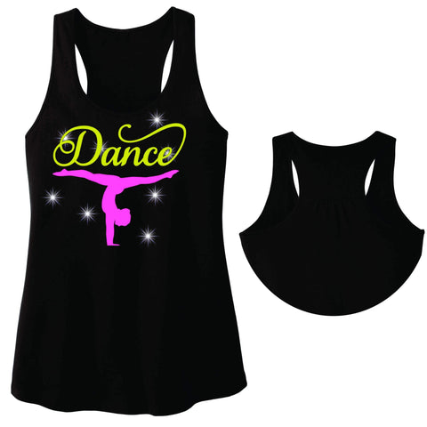 Upside down Dancer Split Dance Gear Team Spirit shirt - Ladies Racerback Tank ladies racerback tank Becky`s Boutique Extra Small