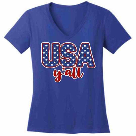 Image of Usa Y'all - Ladies Short Sleeve V-Neck-Ladies Short Sleeve V-neck-Becky's Boutique-Extra Small-Blue-Beckys-Boutique.com