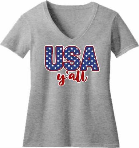 Image of Usa Y'all - Ladies Short Sleeve V-Neck-Ladies Short Sleeve V-neck-Becky's Boutique-Extra Small-Gray-Beckys-Boutique.com