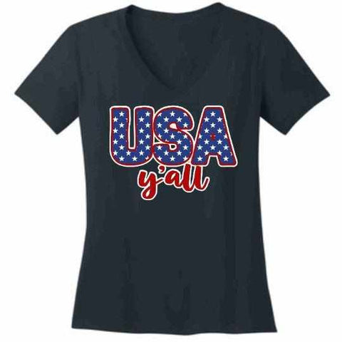 Image of Usa Y'all - Ladies Short Sleeve V-Neck-Ladies Short Sleeve V-neck-Becky's Boutique-Extra Small-Navy Blue-Beckys-Boutique.com