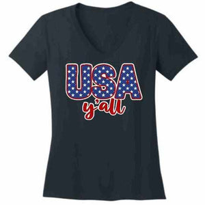 Usa Y'all - Ladies Short Sleeve V-Neck-Ladies Short Sleeve V-neck-Becky's Boutique-Extra Small-Navy Blue-Beckys-Boutique.com