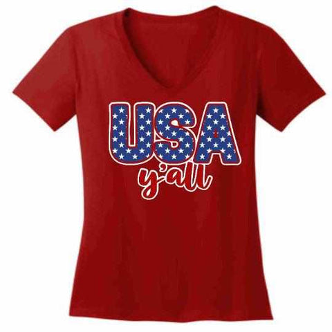 Image of Usa Y'all - Ladies Short Sleeve V-Neck-Ladies Short Sleeve V-neck-Becky's Boutique-Extra Small-Red-Beckys-Boutique.com