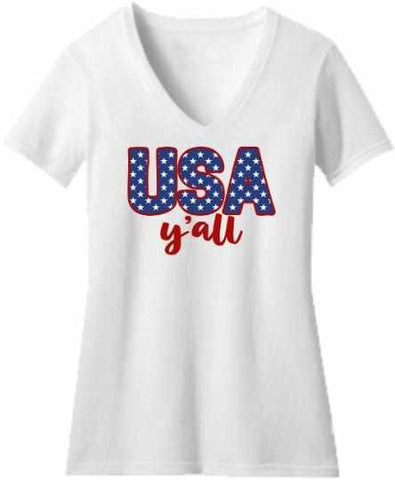 Image of Usa Y'all - Ladies Short Sleeve V-Neck-Ladies Short Sleeve V-neck-Becky's Boutique-Extra Small-White-Beckys-Boutique.com