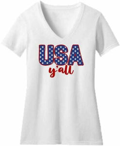 Usa Y'all - Ladies Short Sleeve V-Neck-Ladies Short Sleeve V-neck-Becky's Boutique-Extra Small-White-Beckys-Boutique.com