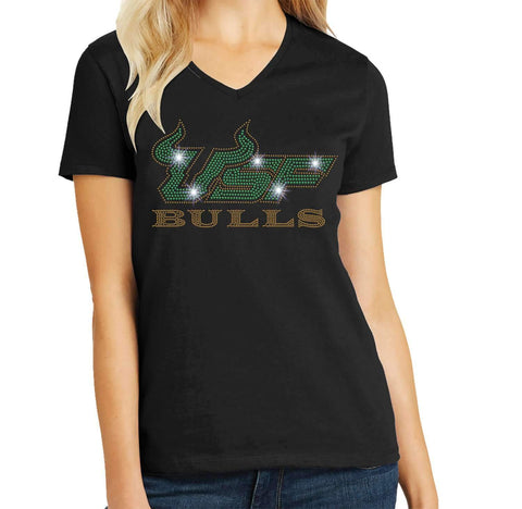 USF Bulls - University of South Florida Spangle Rhinestone Bling shirt - available in adult, youth, short, long sleeve, tank or hoodie sweatshirt Colleges Becky's Boutique Womens Extra-small Womens short sleeve V-neck