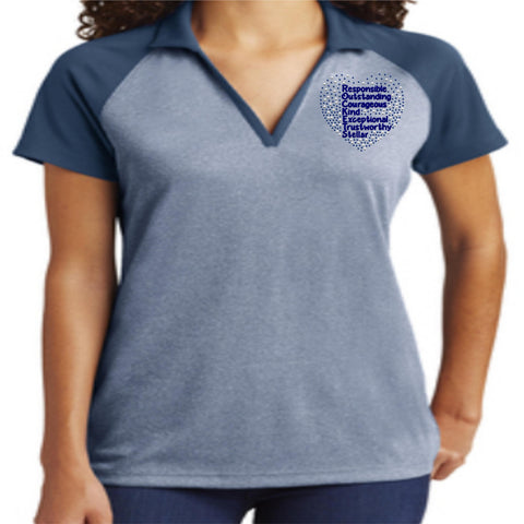 Image of Wedgefield K-8 School - 2019/20 Staff Rockets Raglan Sleeve Polo- comes in mens and womens sizing Schools Becky's Boutique Womens Sizing Extra-small (womens only)