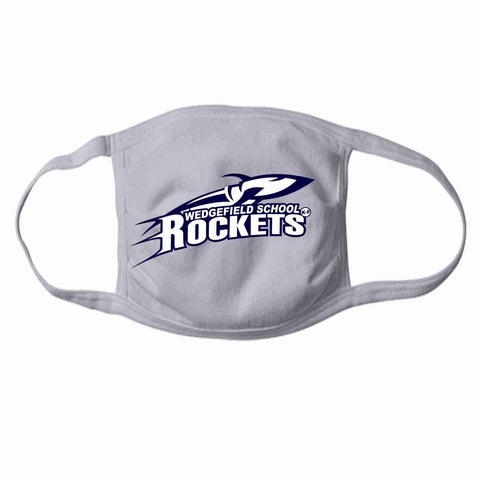 Wedgefield K-8 School, Rockets Face Mask perfect for teams, schools and events Face Mask Beckys-Boutique.com 1- at 15/ea Gray
