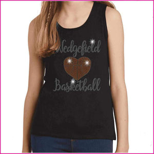 Wedgefield Rockets Basketball Spangle Rhinestone Bling shirt - available in adult, youth, short, long sleeve, tank or hoodie sweatshirt Schools Becky's Boutique Womens Extra-small Womens short sleeve V-neck Navy