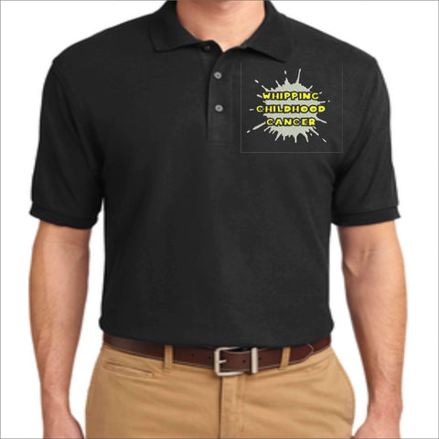 Whipping Childhood Cancer Embroidered Polo VIEW ALL DESIGNS Becky's Boutique Womens Extra-small Black