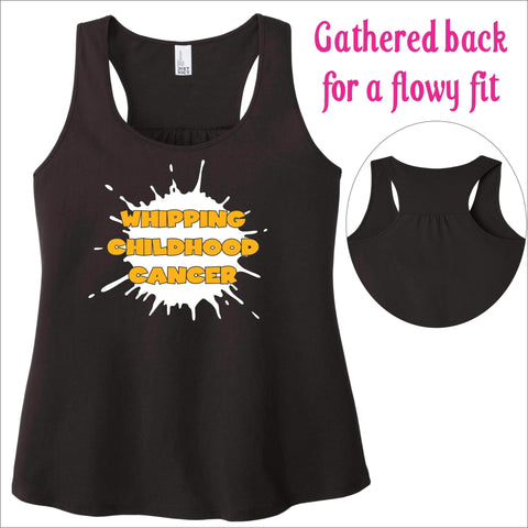 Whipping Childhood Cancer Ladies Screen Print RacerBack Tank VIEW ALL DESIGNS Becky's Boutique Womens Extra-small Black