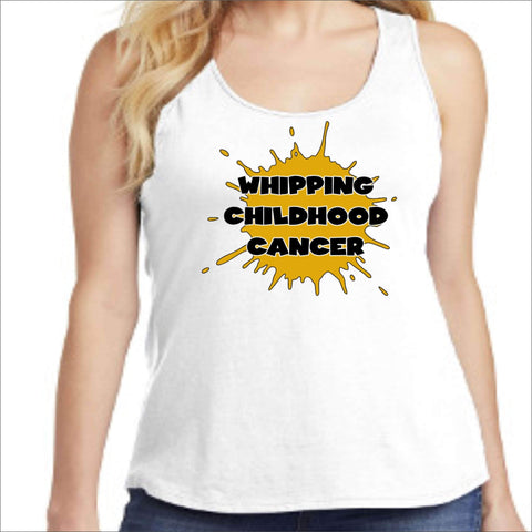 Whipping Childhood Cancer Ladies Screen Print RacerBack Tank VIEW ALL DESIGNS Becky's Boutique Womens Extra-small White