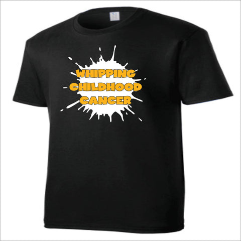 Image of Whipping Childhood Cancer Short Sleeve Screen Printed T-Shirt VIEW ALL DESIGNS Becky's Boutique Small Black