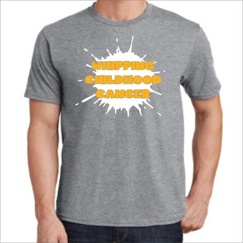Whipping Childhood Cancer Short Sleeve Screen Printed T-Shirt VIEW ALL DESIGNS Becky's Boutique Small Gray