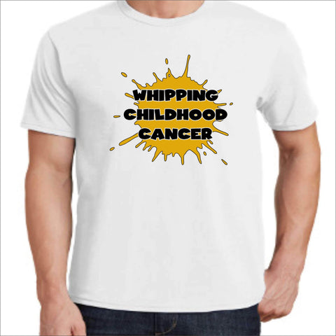 Whipping Childhood Cancer Short Sleeve Screen Printed T-Shirt VIEW ALL DESIGNS Becky's Boutique Small White