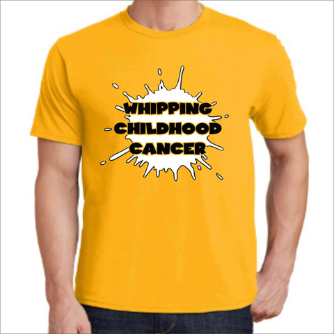 Whipping Childhood Cancer Short Sleeve Screen Printed T-Shirt VIEW ALL DESIGNS Becky's Boutique Small Yellow
