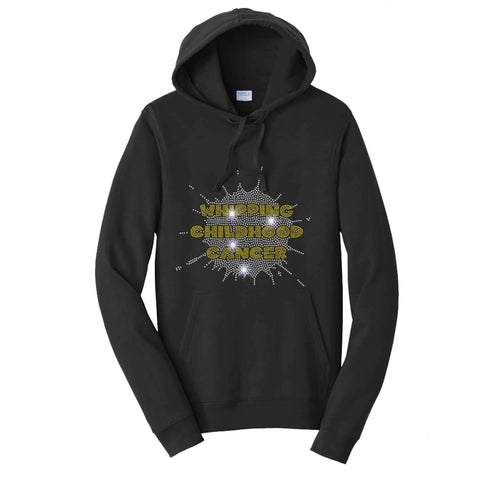 Whipping Childhood Cancer Spangle Rhinestone Bling- Hoodie VIEW ALL DESIGNS Becky's Boutique Extra Small