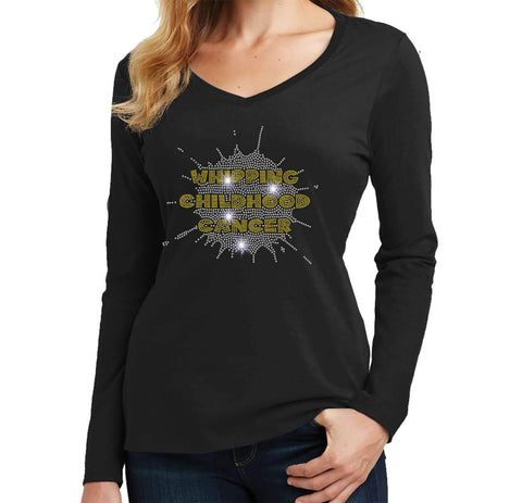 Whipping Childhood Cancer Spangle Rhinestone Bling- Womens Long Sleeve V-Neck Shirt VIEW ALL DESIGNS Becky's Boutique Extra Small