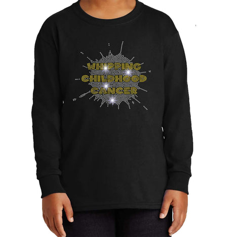 Whipping Childhood Cancer Spangle Rhinestone Bling Youth Crew Neck Sweatshirt VIEW ALL DESIGNS Becky's Boutique Youth Extra-Small Bling