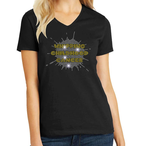 Whipping Childhood Cancer Spangle Rhinestone Bling- Womens Short Sleeve V-Neck Shirt VIEW ALL DESIGNS Becky's Boutique Extra Small