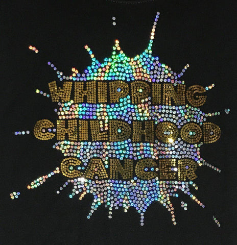 Whipping Childhood Cancer Spangle Rhinestone Bling Youth Tank VIEW ALL DESIGNS Becky's Boutique Youth Extra-Small Bling