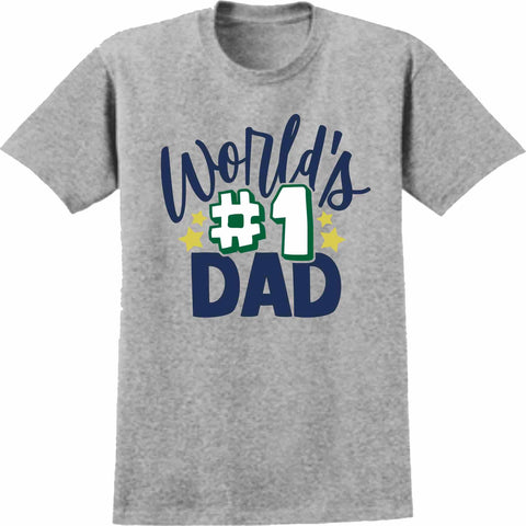 World #1 Dad -Father's Day Short Sleeve Screen Printed Shirt Short Sleeve Crew Neck Mens Beckys-Boutique.com Small
