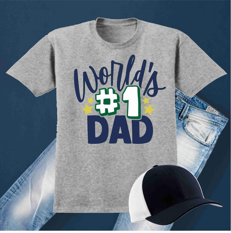 World #1 Dad -Father's Day Short Sleeve Screen Printed Shirt Short Sleeve Crew Neck Mens Beckys-Boutique.com