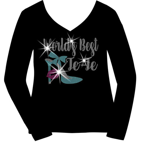 Worlds Best Te-Te, Auntie, or Personalized Name Holographic Sparkle Spangle Bling- Ladies Short Sleeve V-Neck, Long Sleeve V-Neck, Racerback Tank, Unisex hooded Sweatshirt-Long Sleeve V Neck, Short Sleeve V -Neck, Hoodie Sweatshirt-Becky's Boutique-XS-Long Sleeve V-Neck-Beckys-Boutique.com